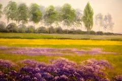 Vårlandskap, olje- målning Royaltyfri Fotografi