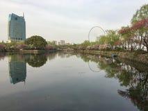 Vårlandskap på den forntida kinesträdgården i den Wuxi staden royaltyfri bild