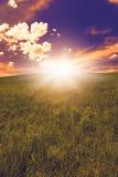 Vårlandskap, solnedgång fotografering för bildbyråer