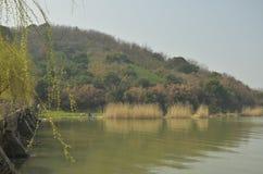 Vårlandskapet av Taihu sjön på Wuxi, Kina royaltyfri fotografi