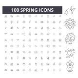 Vårlinje symboler, tecken, vektoruppsättning, översiktsillustrationbegrepp royaltyfri foto