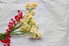 Vårpåskliljabouqet på den vita hantverkpappersbakgrunden och Arkivfoton