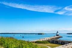 Vårpunkt Ledge Light Portland Maine Royaltyfri Fotografi