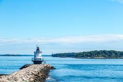 Vårpunkt Ledge Light Portland Maine Fotografering för Bildbyråer