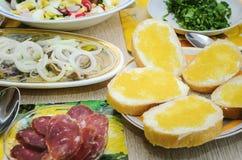 Vårsallad med ägg, gurkor och rädisor, sill med lökar och huggen av korvställning på tabellen Användbar och smaklig lunch arkivfoto