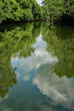 Vårsikt av den Roanoke floden Arkivbild