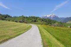 Vårsikt i den schweiziska kantonen av Nidwalden Arkivfoto