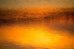 Vårsolnedgång som reflekterar i vatten Royaltyfri Fotografi