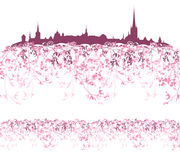 Vårstadsgräns royaltyfri illustrationer