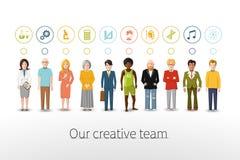 Vårt idérika lag av tio personer med ockupationer vektor illustrationer