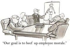 Vårt mål är att gnälla upp anställdmoral royaltyfri illustrationer