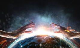 vårt skydda världen framförande 3d Fotografering för Bildbyråer
