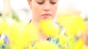 Vårtid, kvinna i trädgårds- tar omsorg av blommapingstliljan stock video