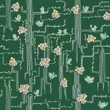 Vårträd med fåglar och blommor royaltyfri illustrationer