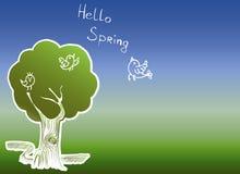 Vårträd med fåglar och blommor stock illustrationer