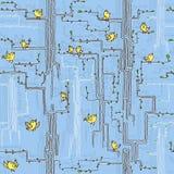 Vårträd med fåglar och blommor vektor illustrationer