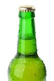våt ölflaskacloseupgreen royaltyfria bilder