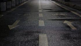 Våt asfaltcykelväg Royaltyfria Foton