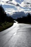 våt asfaltväg Arkivbild