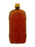 Våt brun plast- flaska med den kall flytande tagna closeupen isolerat Arkivfoton