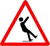 Våt golvvarning, risk av att falla Rött triangulärt tecken för varningssymbol som isoleras på vit bakgrund Arkivbilder