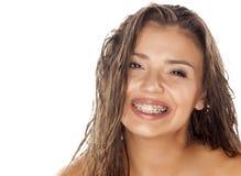 Våt hår och hänglsen Arkivfoto