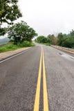 Våt huvudvägvägkurva bland träd med regnmolnet Royaltyfri Fotografi