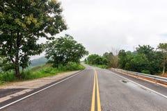 Våt huvudvägvägkurva bland träd med regnmolnet Arkivfoton