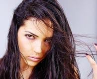 våt kvinna för hår Arkivbild