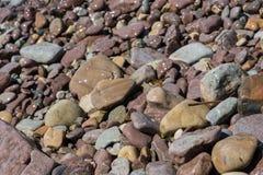 Våta kiselstenar vid kusten Arkivfoton