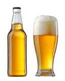 Vått ölflaska och exponeringsglas Arkivfoton