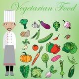 Végétarien et chef Photographie stock
