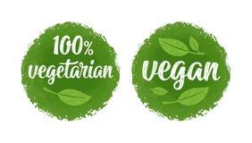 100 végétarien et lettrage calligraphique d'écriture de vegan avec la feuille illustration de vecteur