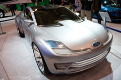 Véhicule argenté de concept de Ford Photographie stock
