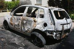Véhicule brûlé Images libres de droits