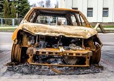 Véhicule brûlé Image libre de droits