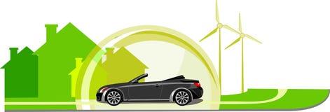 véhicule d'eco dans une ville verte Photo stock