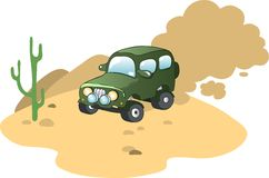 Véhicule dans le désert illustration de vecteur