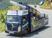 Véhicule de Bostik en montagnes de Pyrénées - Tour de France 2015 Images libres de droits
