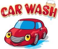 Véhicule de dessin animé avec le signe de lavage de voiture Photographie stock libre de droits