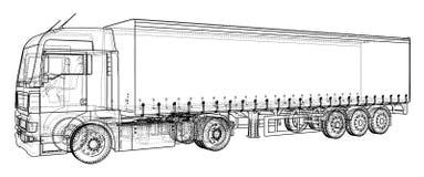 Véhicule de fret Fil-cadre Format EPS10 Vecteur créé de 3d illustration de vecteur