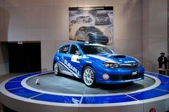 Véhicule de rassemblement de Subaru Impreza sur l'affichage Images stock