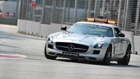 Véhicule de sécurité de Mercedes SLS AMG au généraliste de Singapour Images libres de droits