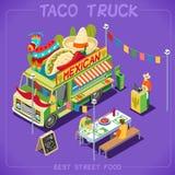 Véhicule du camion 07 de nourriture isométrique Photographie stock