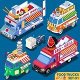 Véhicule du camion Set01 de nourriture isométrique Photos stock