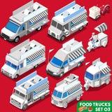 Véhicule du camion Set04 de nourriture isométrique Photographie stock
