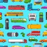 Véhicule et autobus de voiture de transport de vecteur d'embouteillage dans l'heure de pointe sur l'ensemble d'illustration de ve Image libre de droits