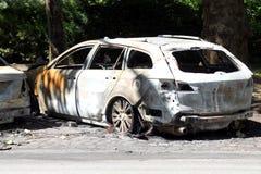 Véhicule incendié Image libre de droits