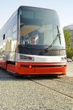 Véhicule neuf de tramway sur l'exposition   Images stock