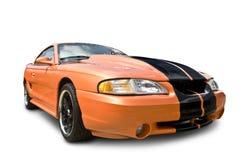 Véhicule orange de muscle d'isolement sur le blanc Images stock